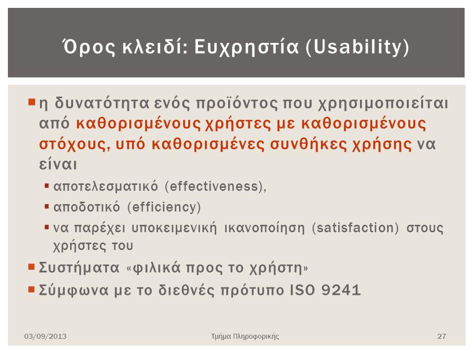Όρος κλειδί: Ευχρηστία (Usability)