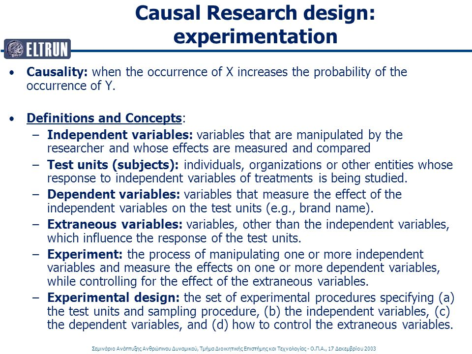 Causal Research design: experimentation