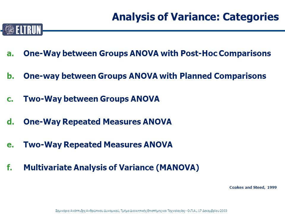 Analysis of Variance: Categories