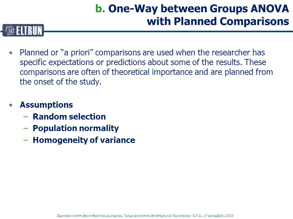 b. One-Way between Groups ANOVA with Planned Comparisons