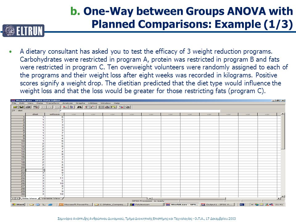 b. One-Way between Groups ANOVA with Planned Comparisons: Example (1/3)