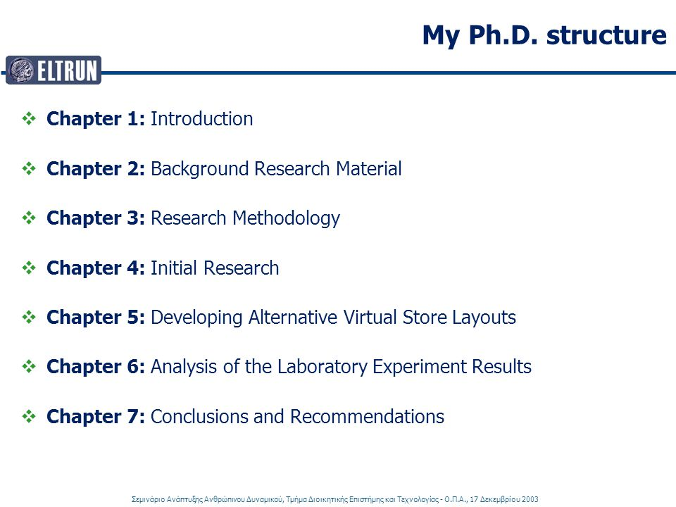 My Ph.D. structure Chapter 1: Introduction