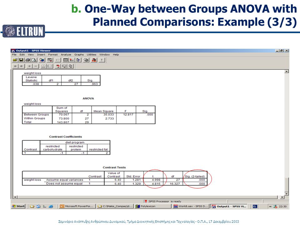 b. One-Way between Groups ANOVA with Planned Comparisons: Example (3/3)