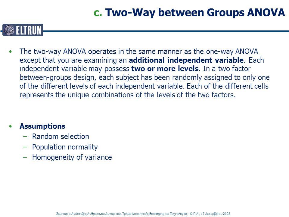 c. Two-Way between Groups ANOVA