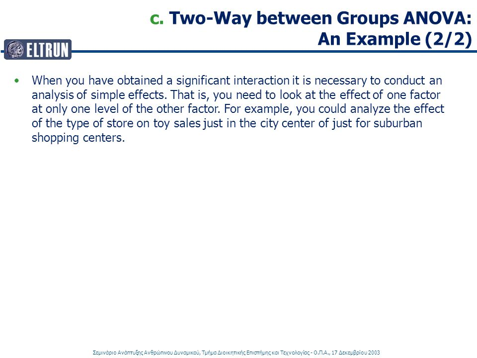 c. Two-Way between Groups ANOVA: An Example (2/2)