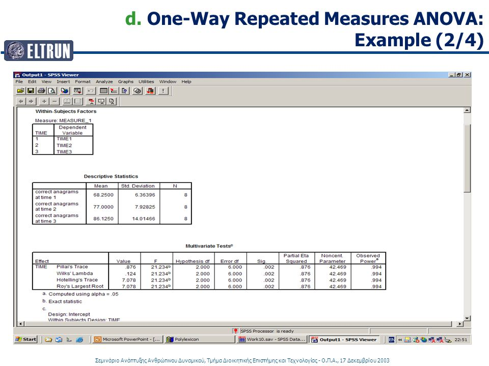 d. One-Way Repeated Measures ANOVA: Example (2/4)