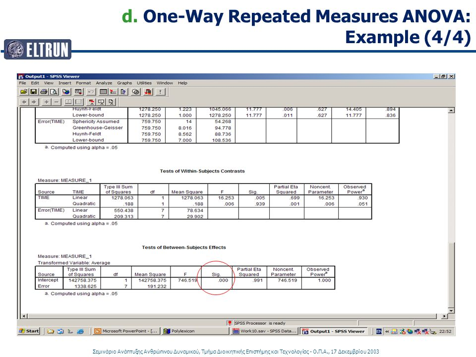 d. One-Way Repeated Measures ANOVA: Example (4/4)