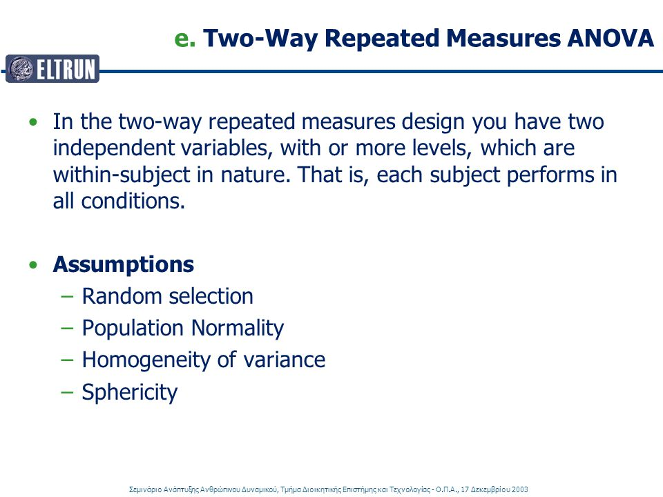 e. Two-Way Repeated Measures ANOVA