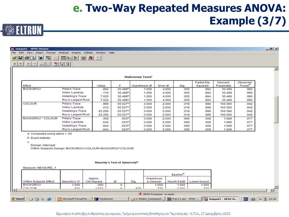e. Two-Way Repeated Measures ANOVA: Example (3/7)