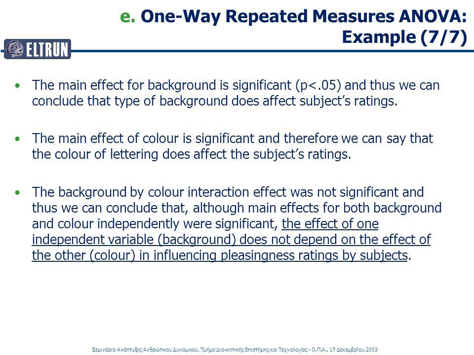 e. One-Way Repeated Measures ANOVA: Example (7/7)