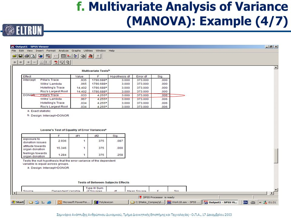 f. Multivariate Analysis of Variance (MANOVA): Example (4/7)