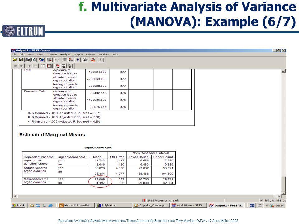f. Multivariate Analysis of Variance (MANOVA): Example (6/7)