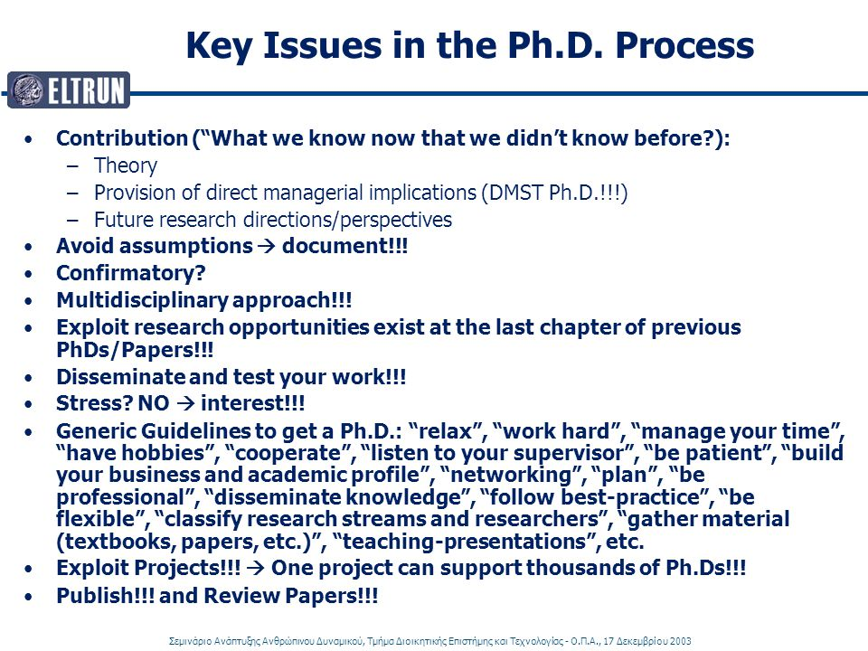 Key Issues in the Ph.D. Process
