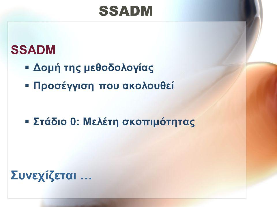 SSADM SSADM Συνεχίζεται … Δομή της μεθοδολογίας