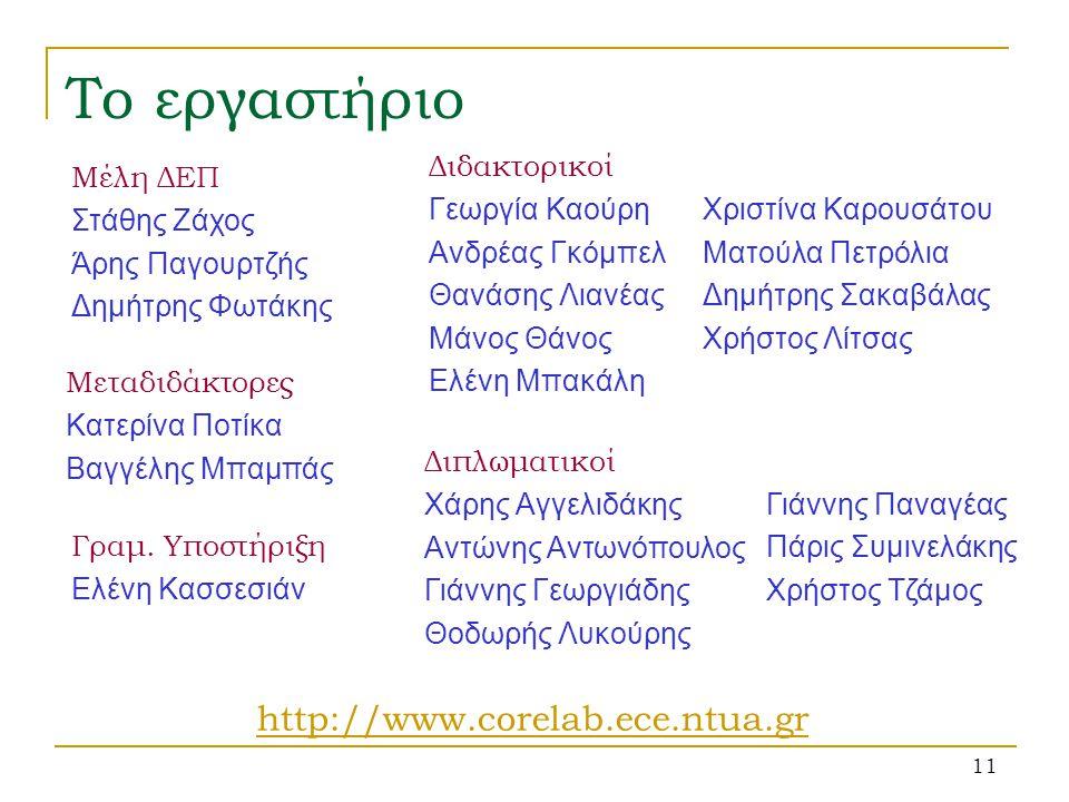 Το εργαστήριο http://www.corelab.ece.ntua.gr Διδακτορικοί
