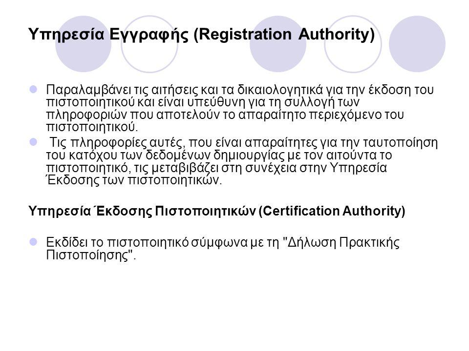 Υπηρεσία Εγγραφής (Registration Authority)