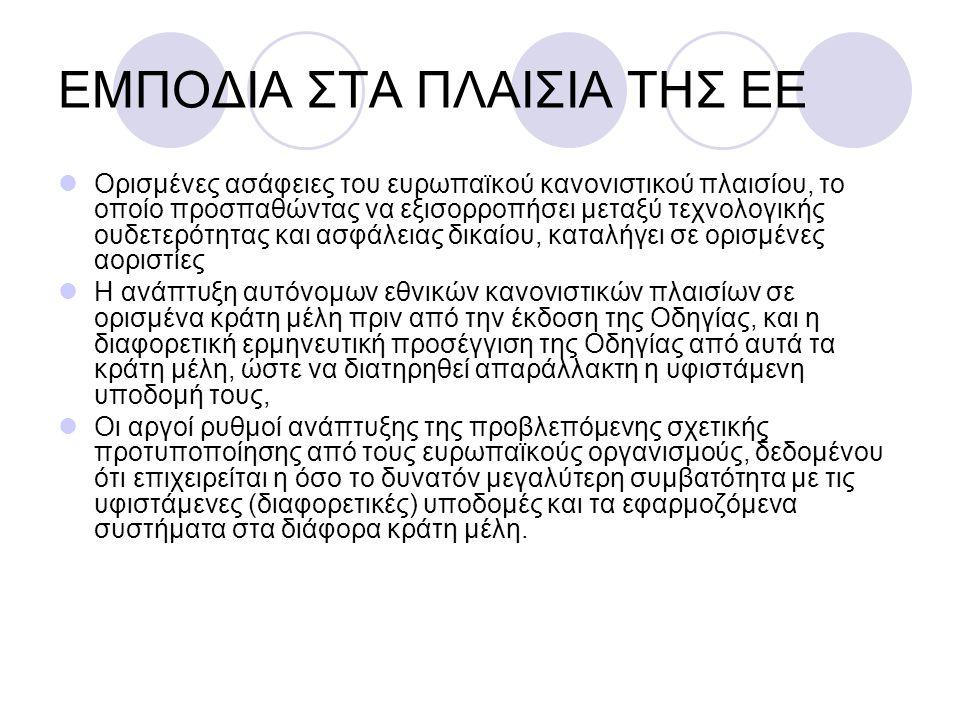 ΕΜΠΟΔΙΑ ΣΤΑ ΠΛΑΙΣΙΑ ΤΗΣ ΕΕ