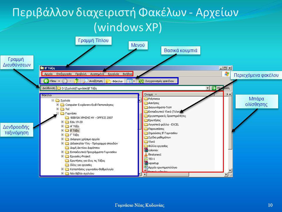 Περιβάλλον διαχειριστή Φακέλων - Αρχείων (windows XP)