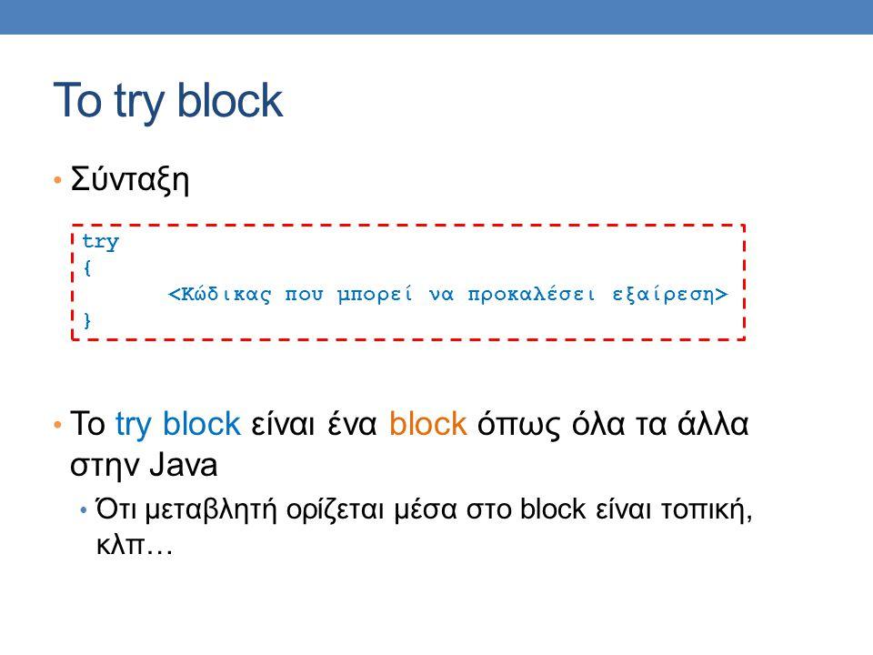 Το try block Σύνταξη. Το try block είναι ένα block όπως όλα τα άλλα στην Java. Ότι μεταβλητή ορίζεται μέσα στο block είναι τοπική, κλπ…