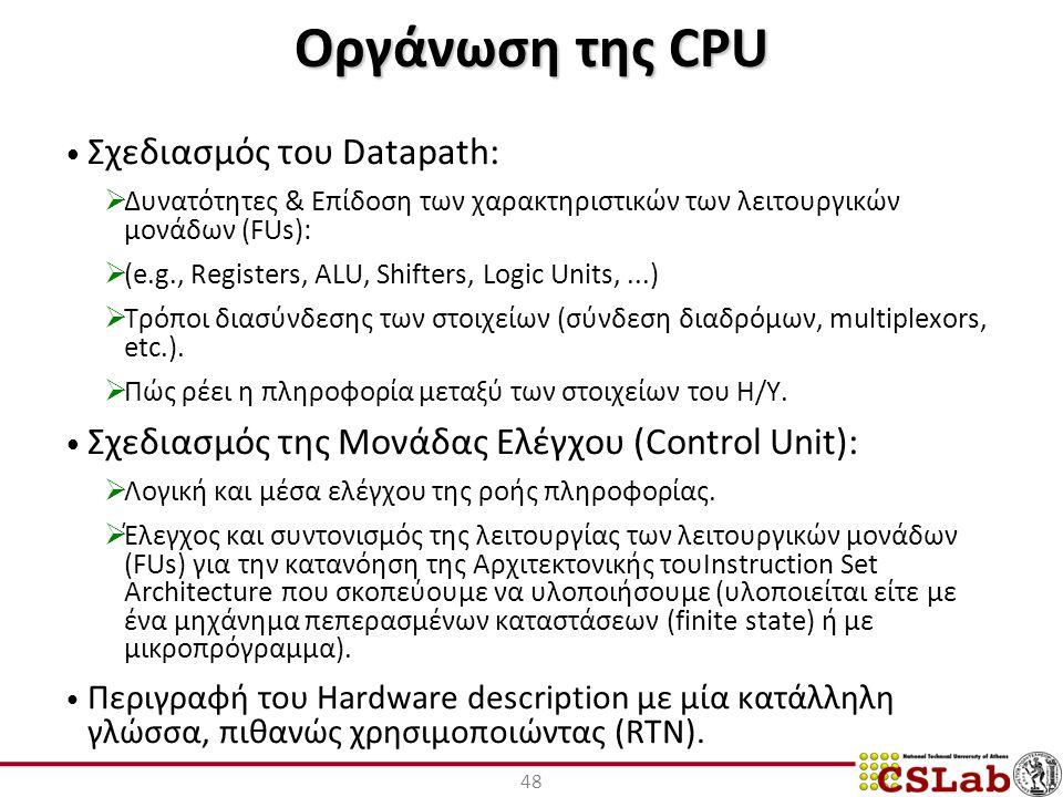 Οργάνωση της CPU Σχεδιασμός του Datapath: