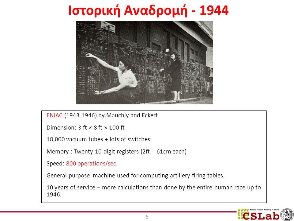 Ιστορική Αναδρομή - 1944 ENIAC (1943-1946) by Mauchly and Eckert