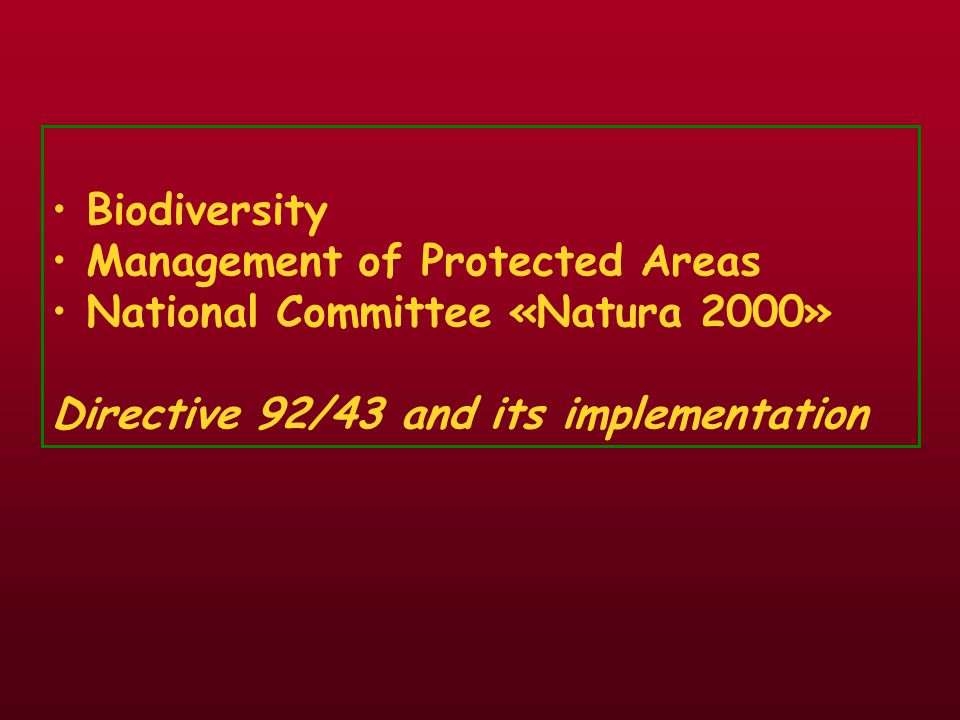 Biodiversity Management of Protected Areas.
