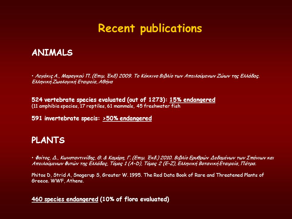 Recent publications ANIMALS PLANTS