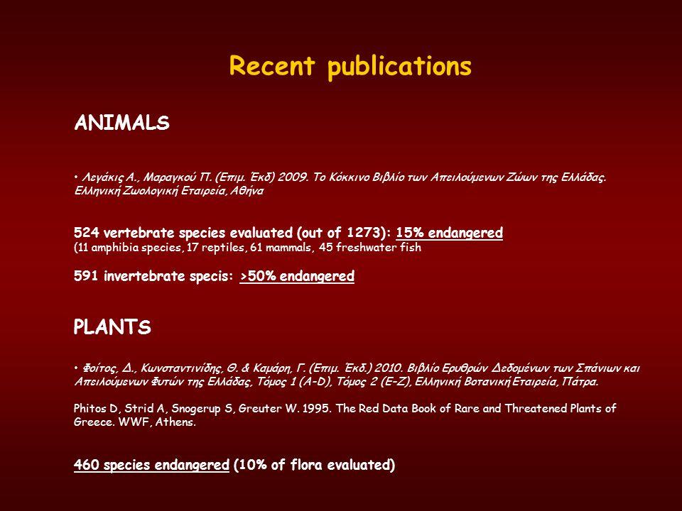Recent publications ANIMALS PLANTS