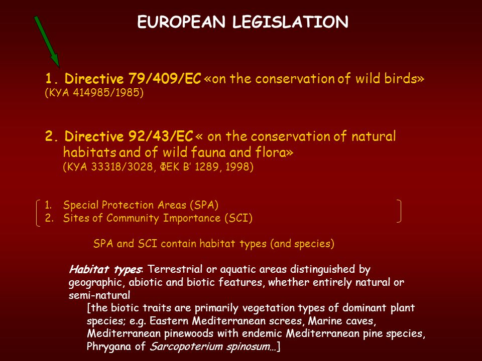 EUROPEAN LEGISLATION 1. Directive 79/409/ΕC «on the conservation of wild birds» (ΚΥΑ /1985)