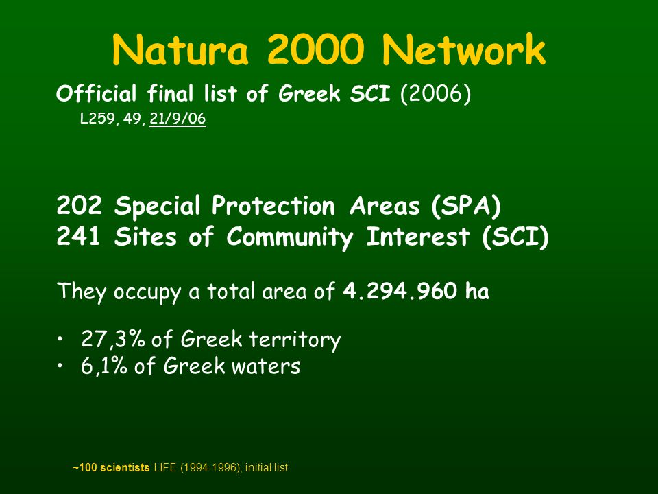 Natura 2000 Network 202 Special Protection Areas (SPA)