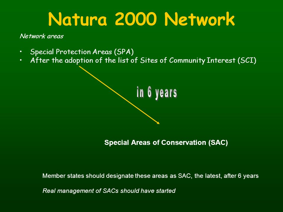 Natura 2000 Network in 6 years Special Protection Areas (SPA)
