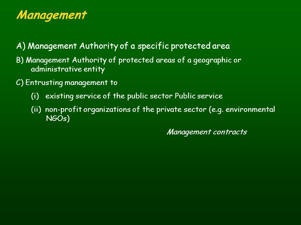 Management Α) Management Authority of a specific protected area