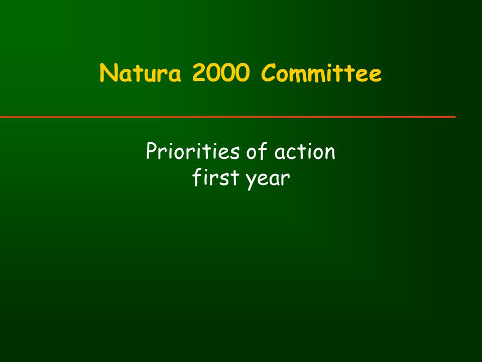 Natura 2000 Committee Priorities of action first year
