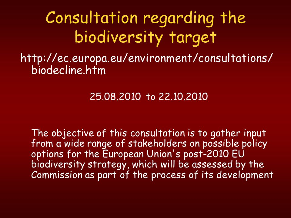 Consultation regarding the biodiversity target