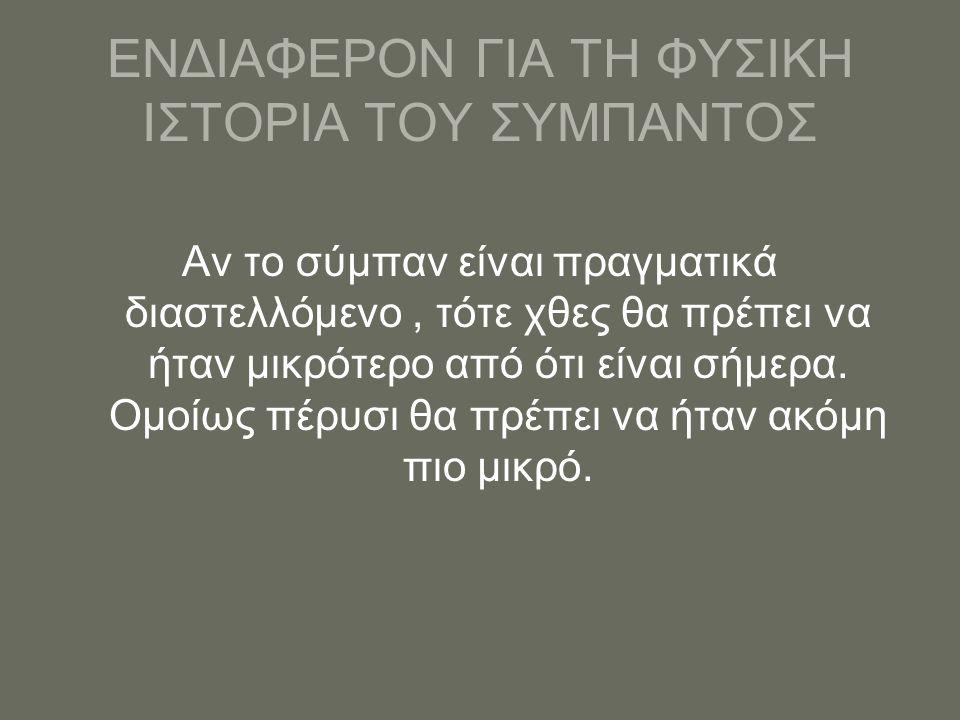 ΕΝΔΙΑΦΕΡΟΝ ΓΙΑ ΤΗ ΦΥΣΙΚΗ ΙΣΤΟΡΙΑ ΤΟΥ ΣΥΜΠΑΝΤΟΣ