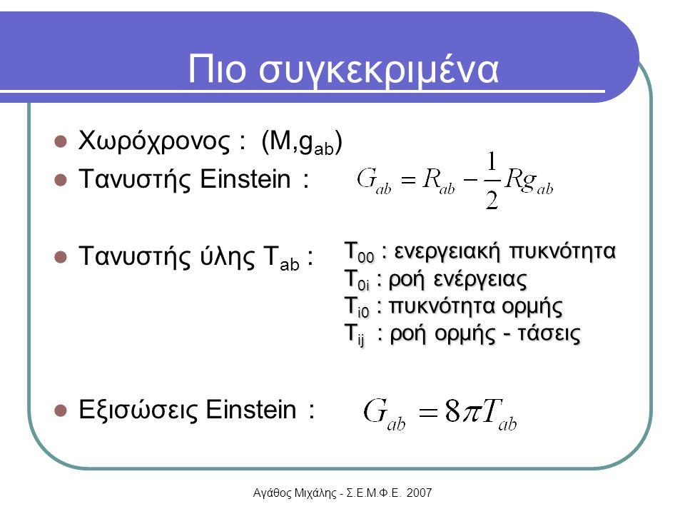 Πιο συγκεκριμένα Χωρόχρονος : (M,gab) Τανυστής Einstein :