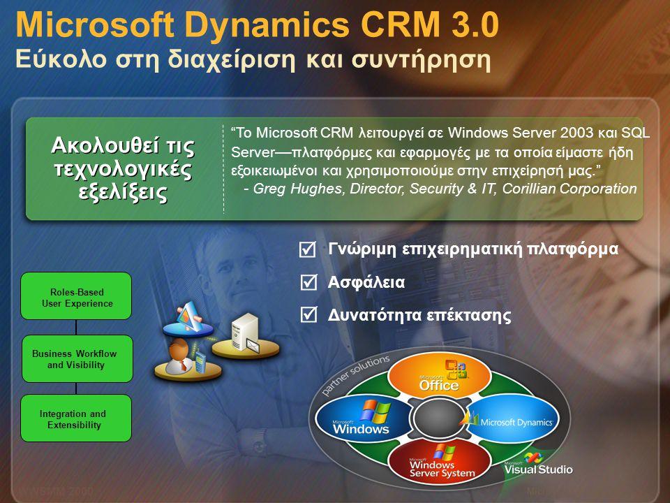 Microsoft Dynamics CRM 3.0 Εύκολο στη διαχείριση και συντήρηση
