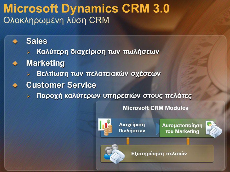 Microsoft Dynamics CRM 3.0 Ολοκληρωμένη λύση CRM