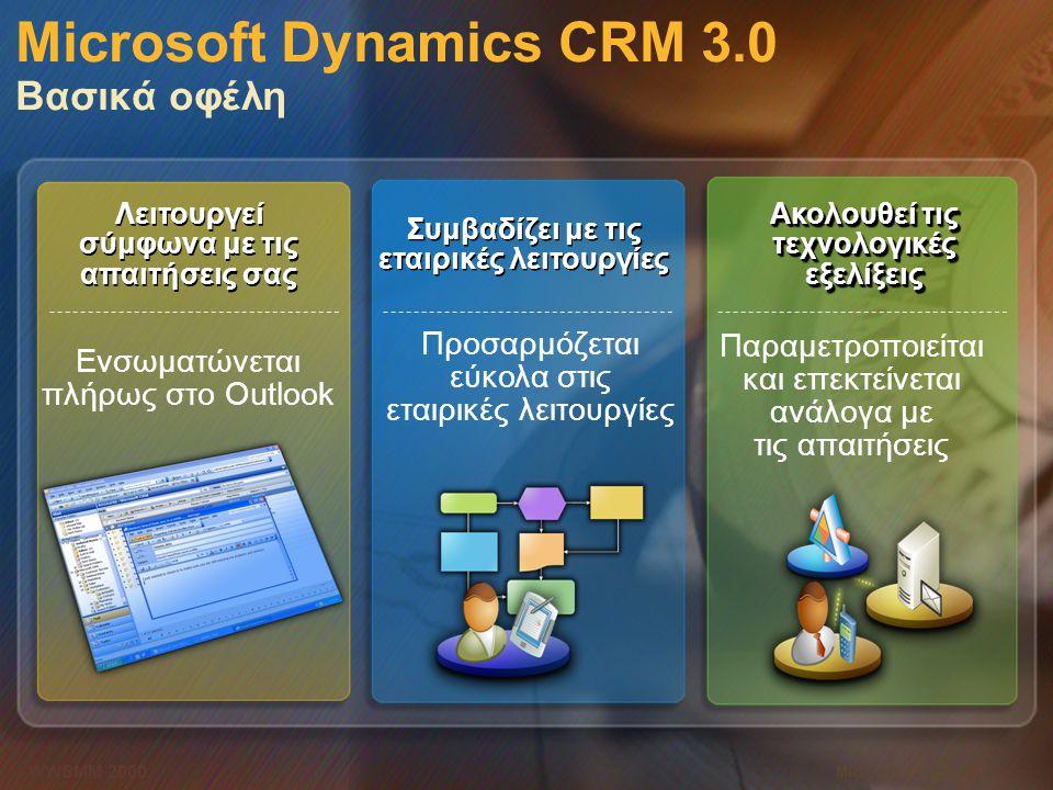 Microsoft Dynamics CRM 3.0 Βασικά οφέλη