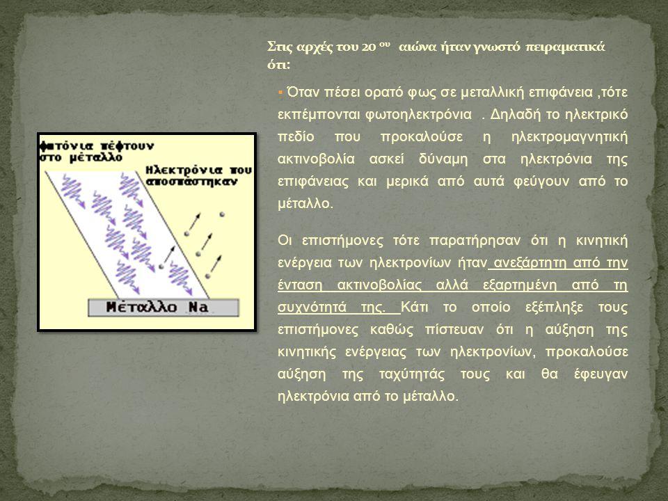 Στις αρχές του 20 ου αιώνα ήταν γνωστό πειραματικά ότι: