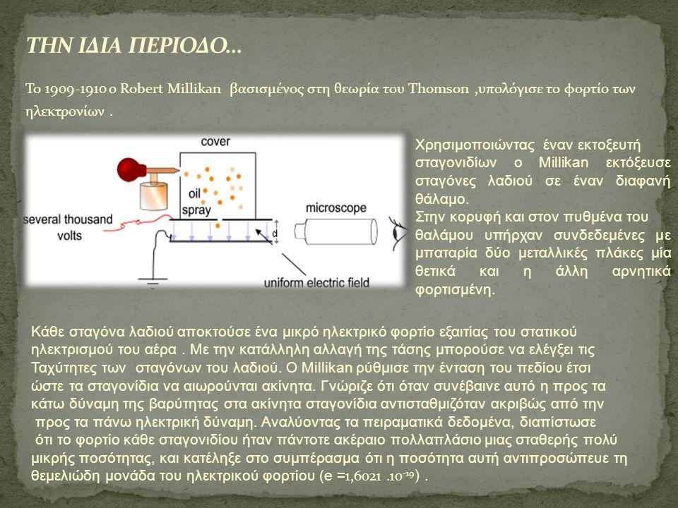 ΤΗΝ ΙΔΙΑ ΠΕΡΙΟΔΟ… To 1909-1910 ο Robert Millikan βασισμένος στη θεωρία του Thomson ,υπολόγισε το φορτίο των ηλεκτρονίων .