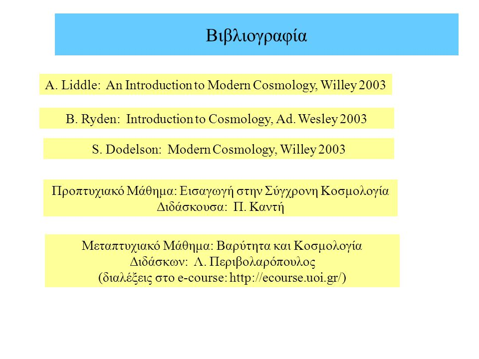 Βιβλιογραφία A. Liddle: An Introduction to Modern Cosmology, Willey 2003. B. Ryden: Introduction to Cosmology, Ad. Wesley 2003.