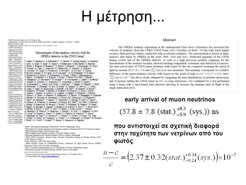 Η μέτρηση... early arrival of muon neutrinos