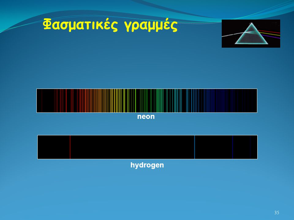 Φασματικές γραμμές neon hydrogen