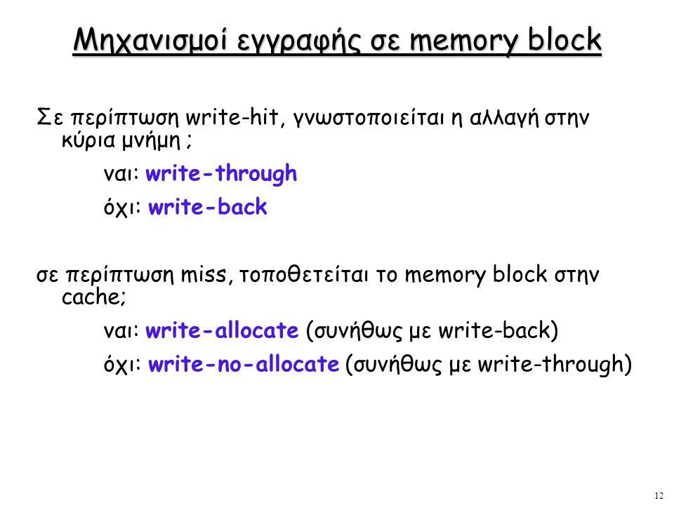 Μηχανισμοί εγγραφής σε memory block
