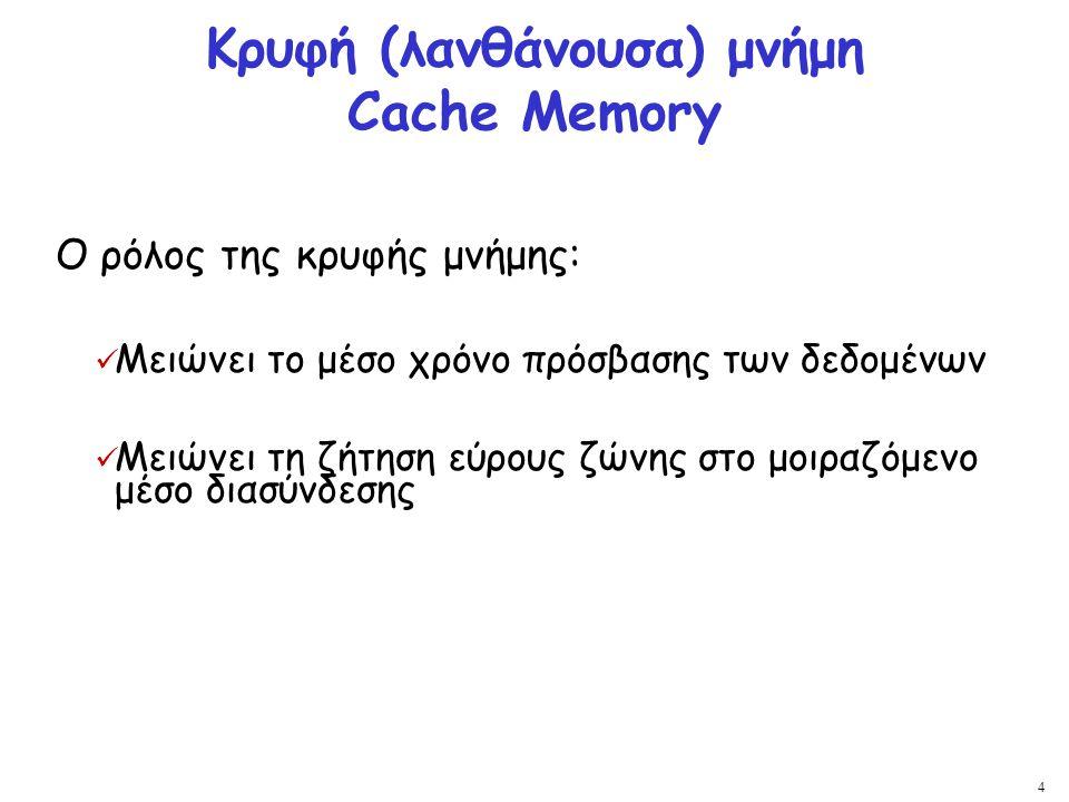 Κρυφή (λανθάνουσα) μνήμη Cache Memory
