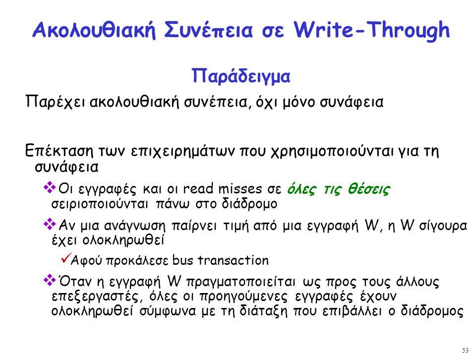 Ακολουθιακή Συνέπεια σε Write-Through Παράδειγμα