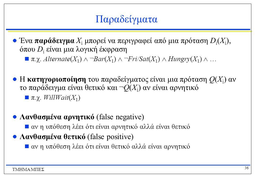 Παραδείγματα Ένα παράδειγμα Χi μπορεί να περιγραφεί από μια πρόταση Di(Xi), όπου Di είναι μια λογική έκφραση.