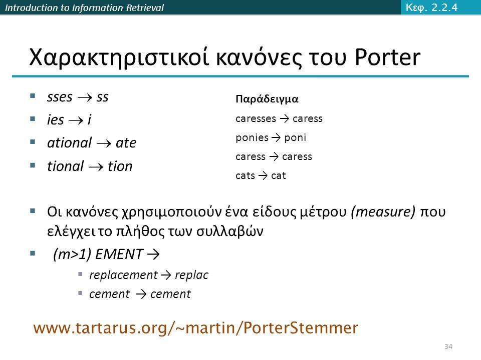 Χαρακτηριστικοί κανόνες του Porter