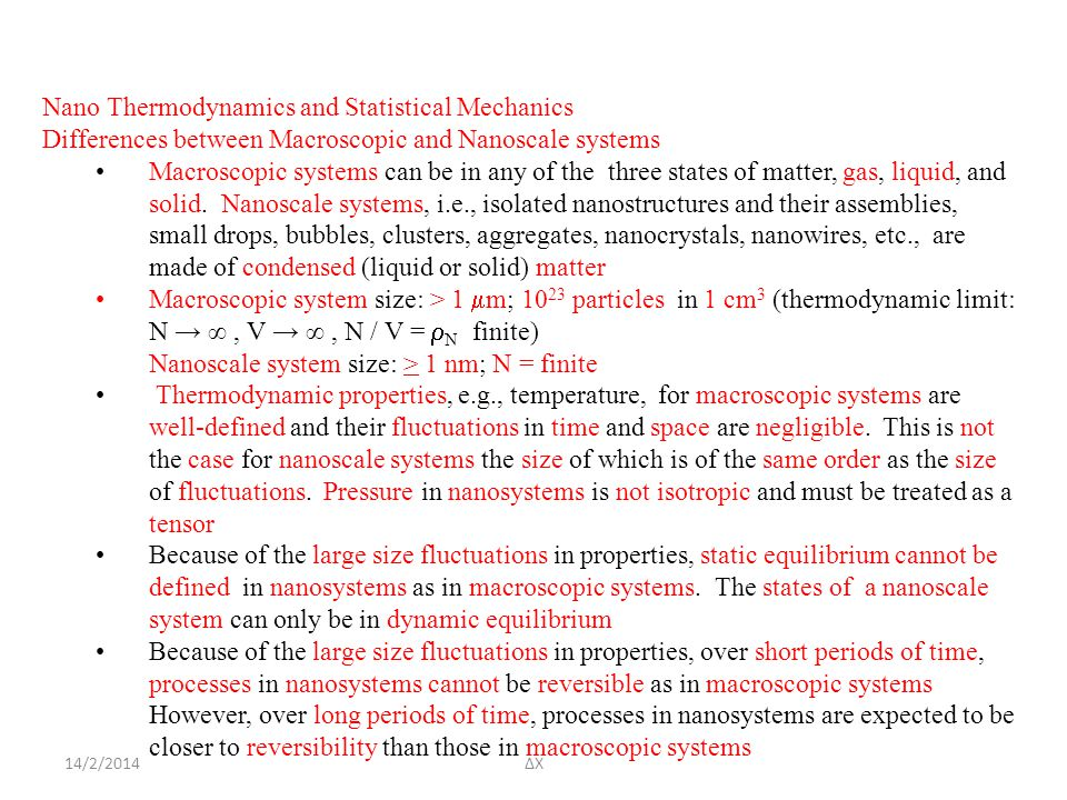 Nano Thermodynamics and Statistical Mechanics